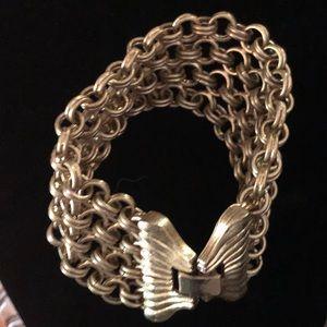 Vintage Gold Circle Mesh Chain Bracelet